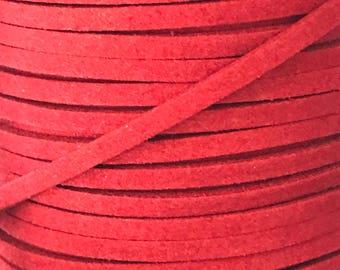 Watermelon Faux Suede Cord - 5m
