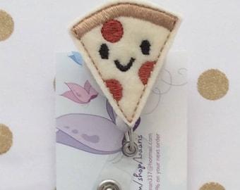 Pizza reel-pizza badge - cafeteria worker gift - food reel-food badge - dietitian reel- lunch administrator gift/ badge reel id holder