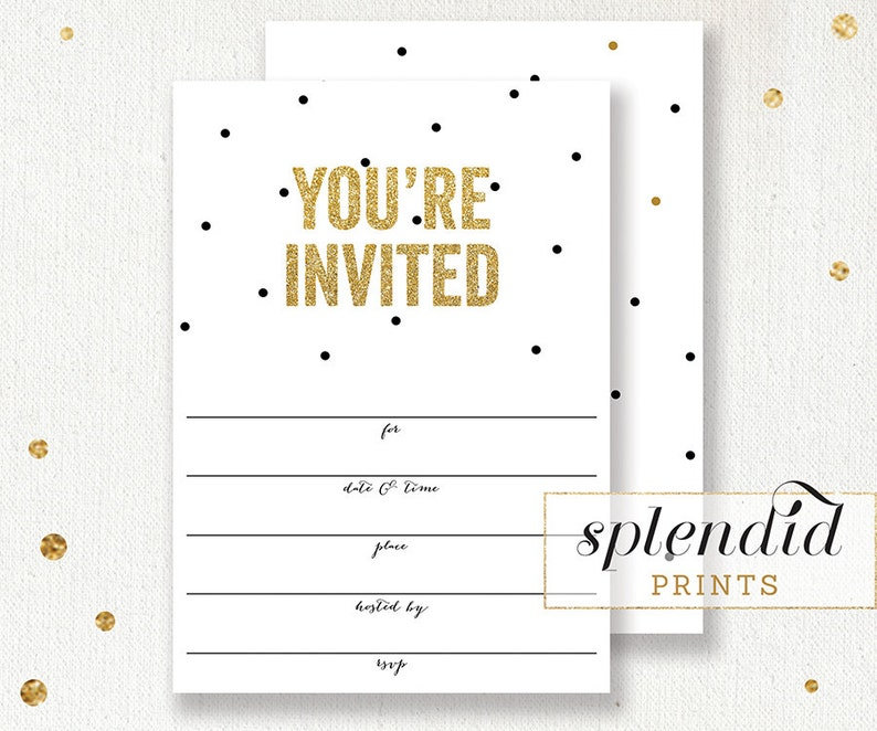 Gold Glitter Blank Invitation Instant Download 5x7 Black And Etsy