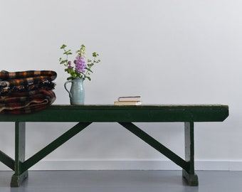 Vintage Long Green Wooden Rustic Bench