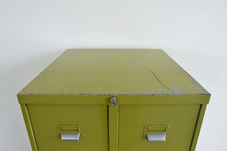 Vintage Metal Avocado Green 10 Drawer Filing Cabinet By Sankey Etsy
