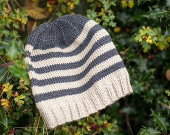 Hand Knit Adult Slightly Slouchy Beanie Hat - Luxury Cashmerino - Beige with Charcoal Stripes; READY TO SHIP