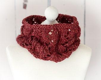 Hand Knit Simone Cowl, Neckwarmer - Berry - Luxury Llama/Wool/Silk/Linen Blend
