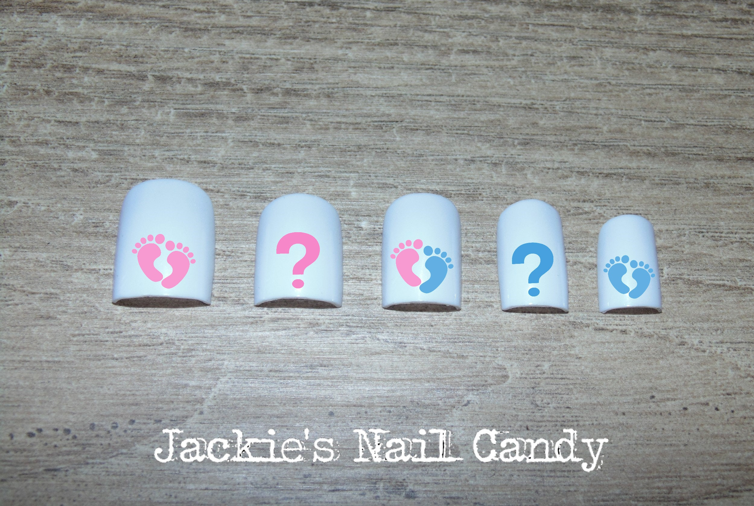 Gender Reveal Nails Baby Shower Boy Girl Blue Pink Etsy