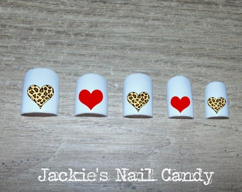 Heart Nail Decals - Cheetah Print Hearts and Red Hearts - Nail Art - Valentine's Day - 25 Designs