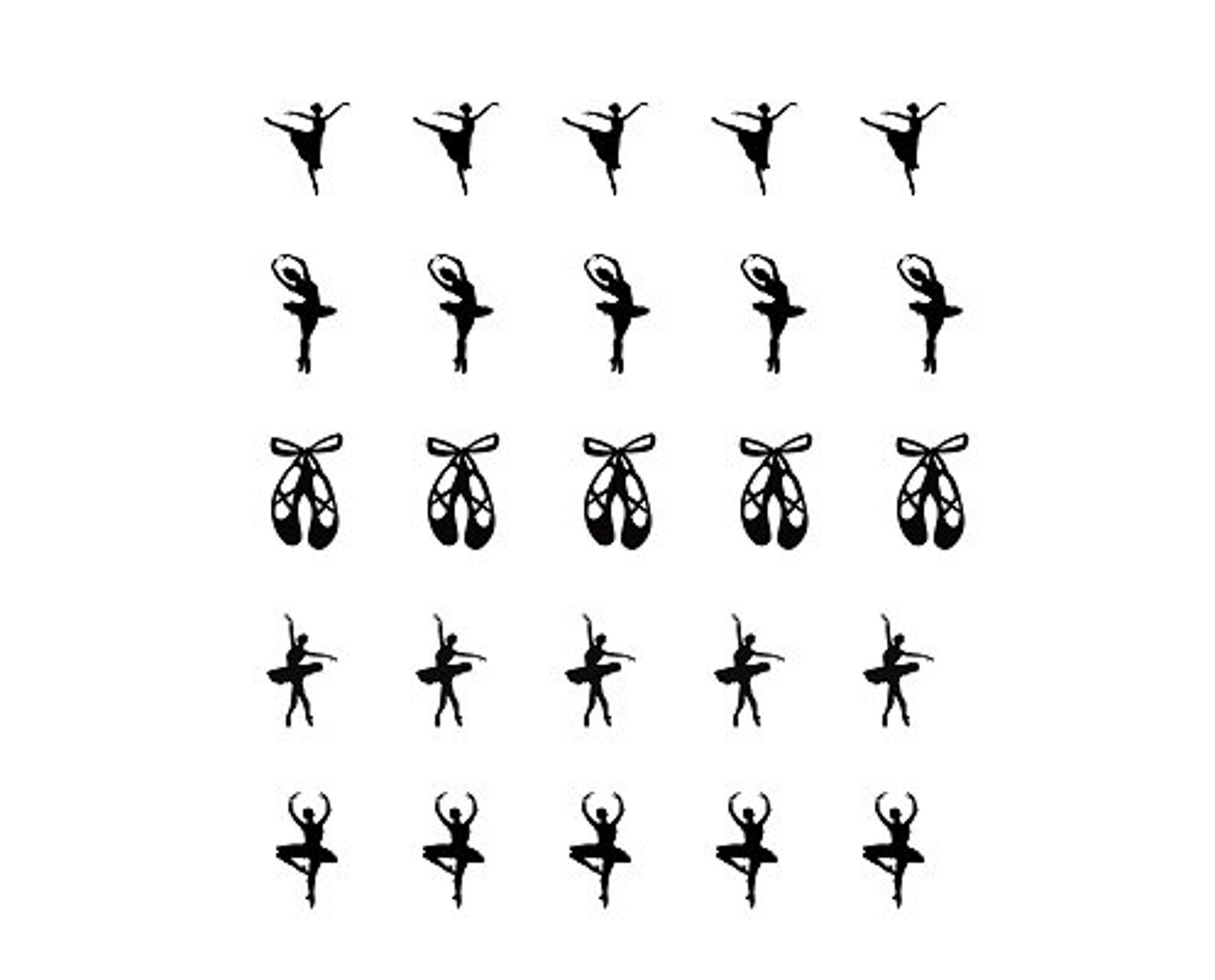 ballet theme nail decals - dance, ballerina, silhouette, slippers, shoes, bow, black, shadow - nail art stickers - 25 designs
