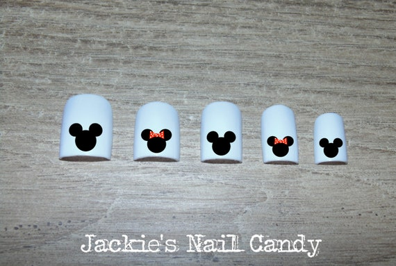 Mickey Mouse And Minnie Mouse Head Nail Decals Disney Nail Etsy
