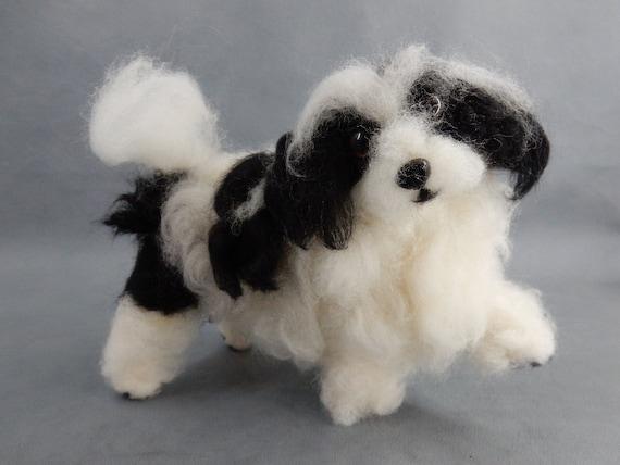 Bolonka needle felted dog miniature custom dog replica Bolonka Zwetna Lapdog memorial dog keepsake flexible dog replica dog remembrance gift