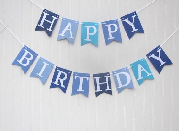 boy birthday banner boy birthday party boy birthday blue etsy