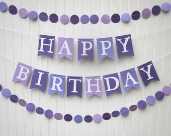 Happy Birthday Banner - Purple Birthday Banner, Photo Prop ,Kid Birthday,  First Birthday, Backdrop,Girl Banner