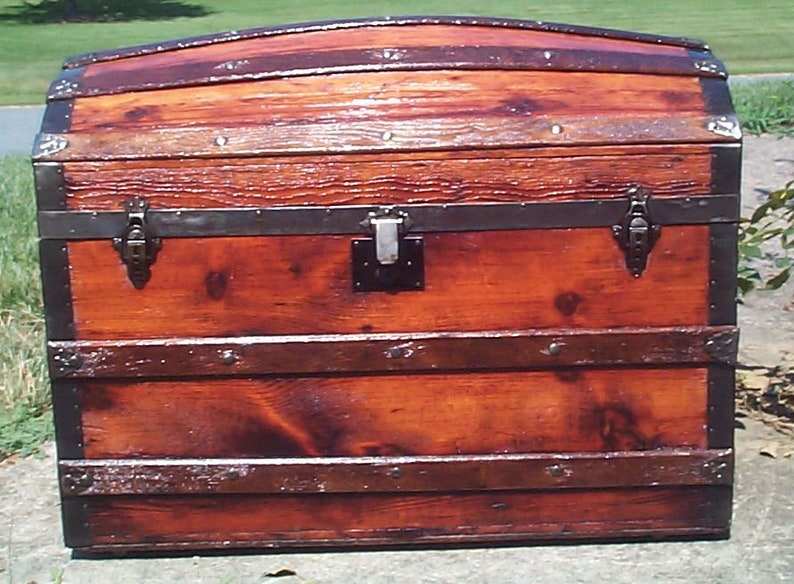 838 Large Restored Dome Top Antique Trunk (1870s-1880s)w Gorgeous Grain &  Patina, Heavy Duty Rear Hinges, New Leather Handles