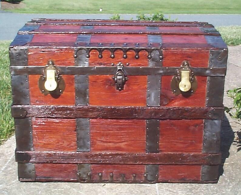 Antique Steamer Trunk Trim Parts Handle End Caps 1800-1899