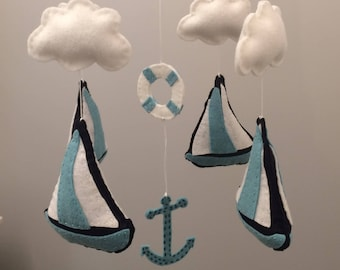 Nautical Sail Boat Baby Mobile, Navy, Aqua and White Nursery Mobile, Baby Crib Mobile, Baby Mobile (pick your colors)