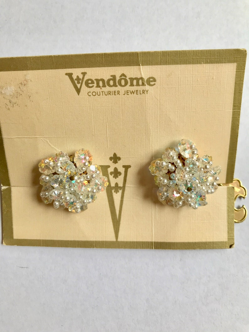 Vendome Pearl and Crystal Earrings on the Original Card