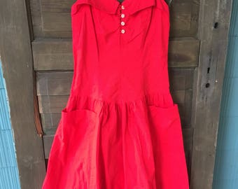 392939987682 Vintage 60's Pin Up Style Red Tank Day Dress size Medium