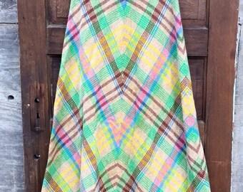 Fantastic Vintage 70's Handmade High Waisted Wool Cheveron Plaid Maxi Skirt