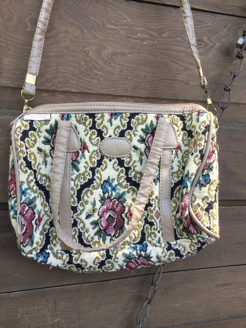 Adorable Vintage Small Tapestry Cross Body Purse by American Heritage