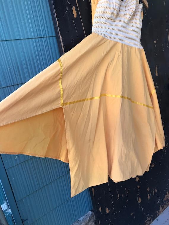 Vintage 70's Yellow Pin Up Style Halter Dress siz… - image 6