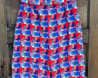 Fantastic Vintage 60's/70's Handmade High Waisted Wool Houndtooth Pencil Skirt