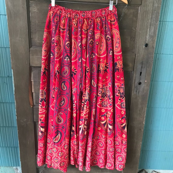 Vintage 70's Red Woven Indian Elephant Print Pala… - image 4