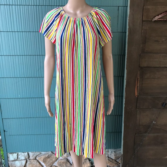Vintage 70's Rainbow Terry Cloth Off-Shoulder Shif