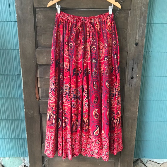 Vintage 70's Red Woven Indian Elephant Print Pala… - image 1