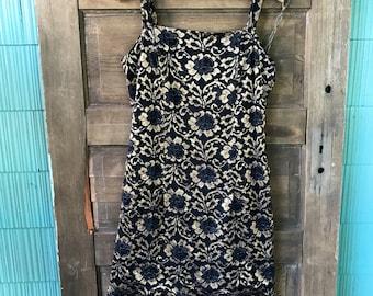 Vintage 80's Black and Metallic Gold Lace Flapper Party Tank Dress size Medium