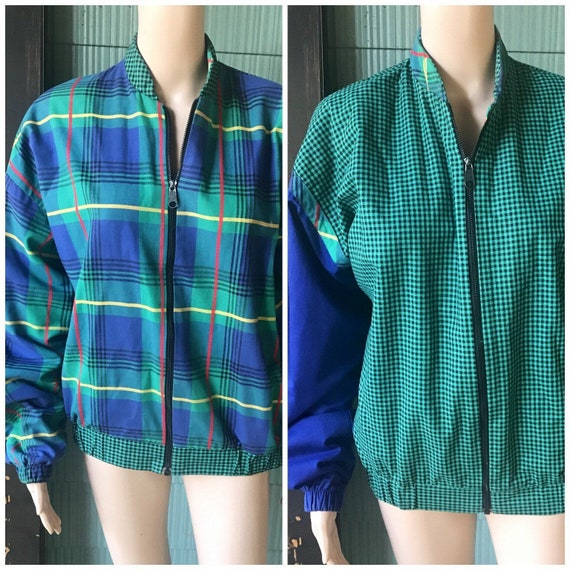 Vintage 80's Reversible Green and Blue Plaid and C