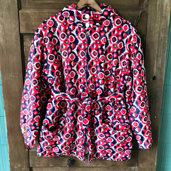Vintage 60's Mod Pixilated Geometric Print Quilted