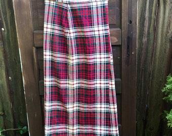 Fantastic Vintage 70's Handmade High Waisted Red Tone Tartan Plaid Wrap Maxi Skirt size large
