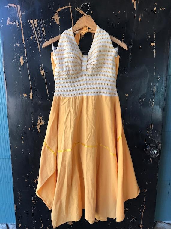 Vintage 70's Yellow Pin Up Style Halter Dress siz… - image 3