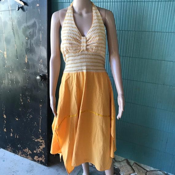 Vintage 70's Yellow Pin Up Style Halter Dress siz… - image 1