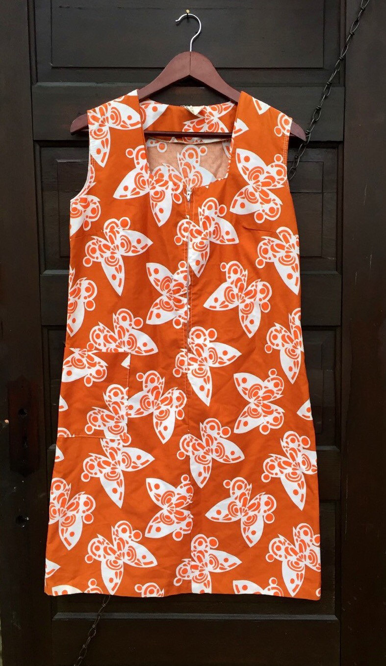 f4a6095147 Adorable Vintage 60 s Mod Thin Cotton Butterfly Print