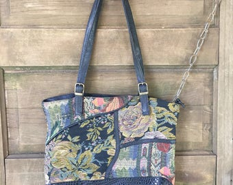Vintage 90's Mixed Floral Patchwork Tapestry Purse