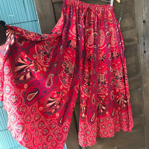 Vintage 70's Red Woven Indian Elephant Print Pala… - image 7