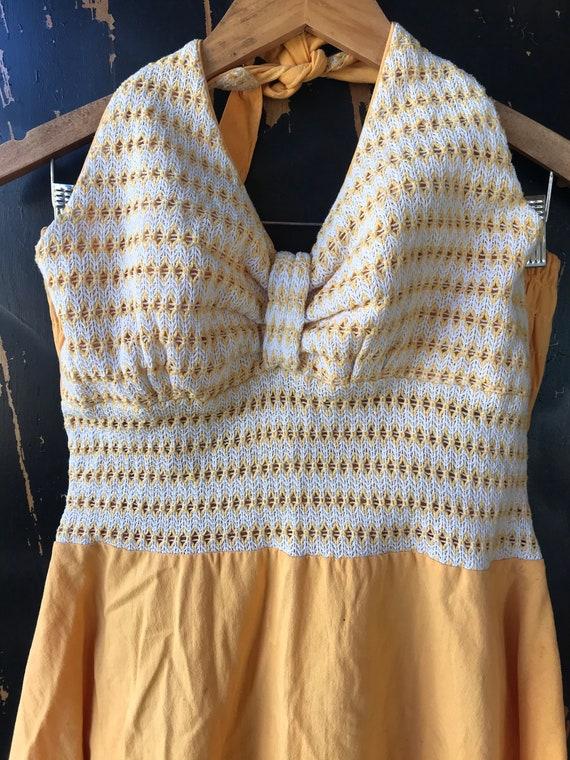 Vintage 70's Yellow Pin Up Style Halter Dress siz… - image 5