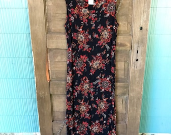 Vintage 90's Black Paisley Floral Crinkle Rayon Sleeveless Maxi Dress by White Stag size Medium