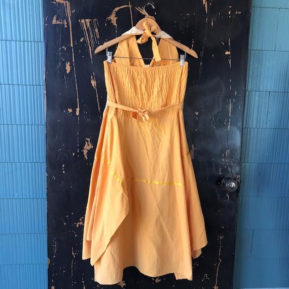 Vintage 70's Yellow Pin Up Style Halter Dress siz… - image 4