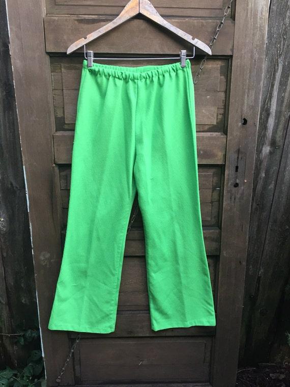 Fantastic Vintage 70's High Waisted Lime Green Pol