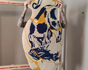 "KINTSUGI CAT VASE - Hand Tufted Rug - Wall Art - 27 x 42"""