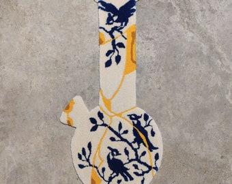 """KINTSUGI BIRD VASE - Hand Tufted Rug - Wall Art - 43 x 21"""""""