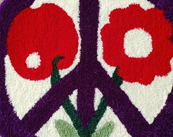 "PEACE FLOWER CHERRY - Hand Tufted Rug - Wall Art - 23 x 23"""