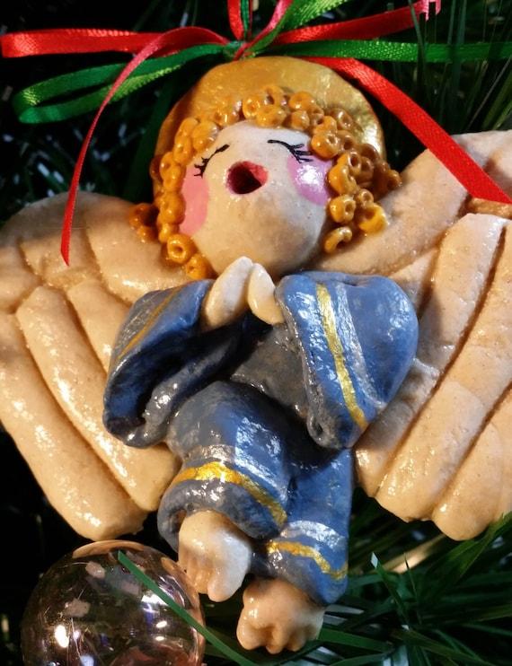 SANTA CHRISTMAS ORNAMENT Keepsake Lacquered Bread Dough Sculpture Hen/'sTeeth/&Frog/'sHairStudio Exclusive Design