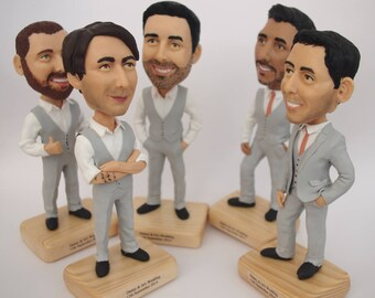 Groomsmen Bobble Head - Best Custom Groomsmen Bobble Heads - Personalized Bobblehead In Custom Clothing - Unique Doll Gift For Groomsmen