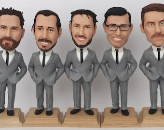 Custom Groomsmen Bobbleheads - Groomsmen gift idea - Groomsmen Bobble Heads Gifts - Personalized Bobblehead In Custom Clothing