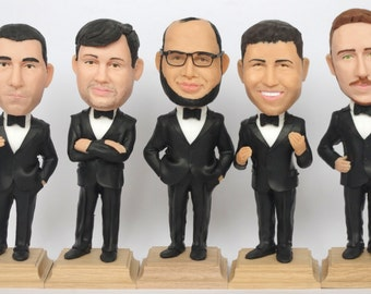 Groomsmen Bobble Head - Funny Groomsmen Gift - Wedding Groomsmen Look Alike - Personalized Bobblehead In Custom Clothing