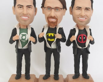 Custom Groomsmen Bobbleheads - Funny Groomsmen Gift - Wedding Groomsmen Look Alike - Personalized Bobblehead In Custom Clothing
