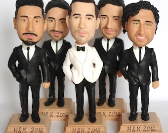 Custom Groomsmen Bobble Heads - Groomsmen gift idea - Groomsmen Bobble Heads - Personalized Bobblehead In Custom Clothing