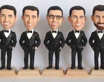 Groomsmen Bobble Head - Best Custom Groomsmen Bobble Heads From Your Photos - Personalized Bobblehead In Custom Clothing