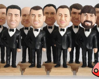 Custom Groomsmen Bobbleheads - Funny Groomsmen Gift - Best Man Bobblehead - Personalized Bobblehead In Custom Clothing